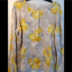 Floral yellow sweater - XL